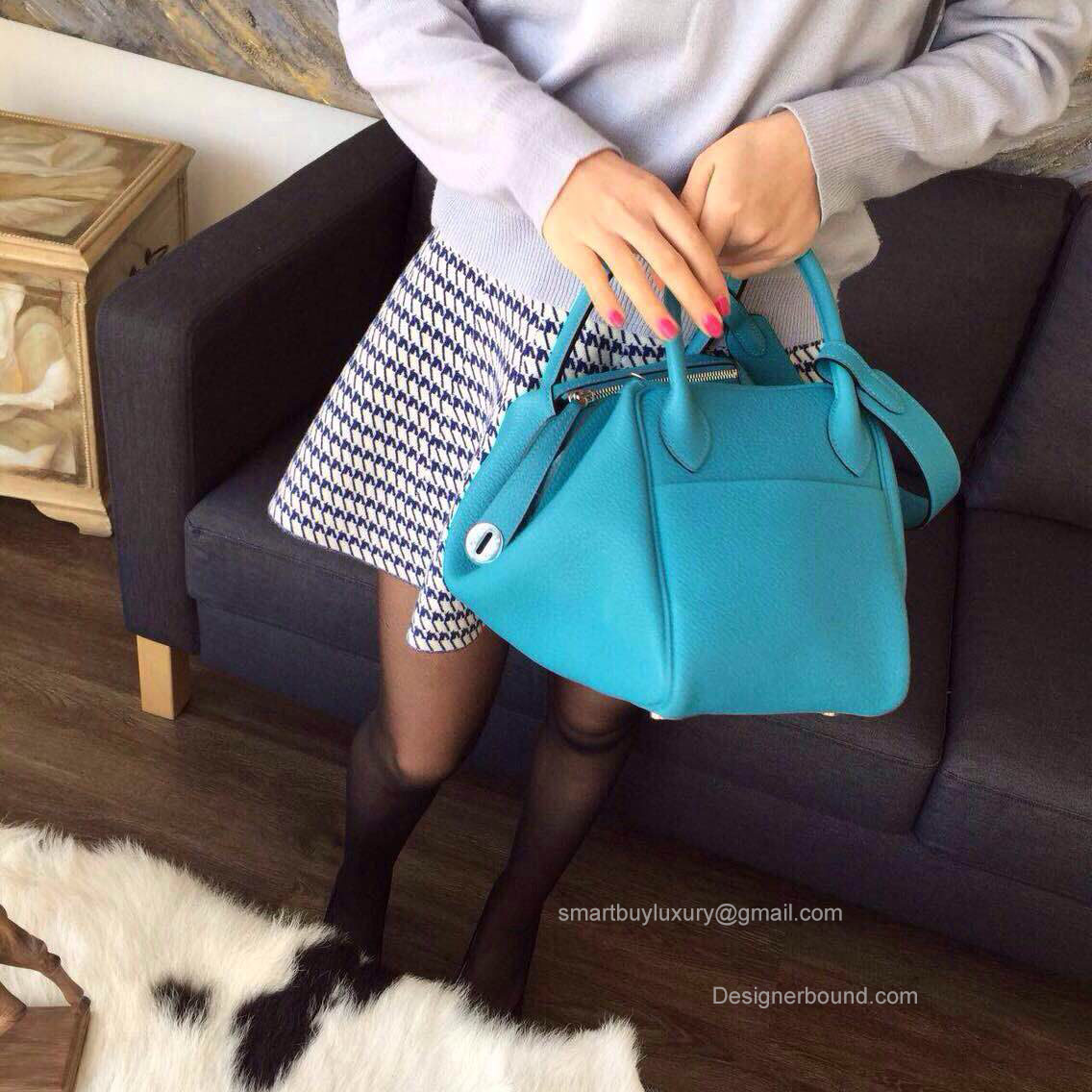 b061db1744e1 ... usa hermes lindy 30 bag in 7b blue turquoise clemence leather  handstitched b075b 74625