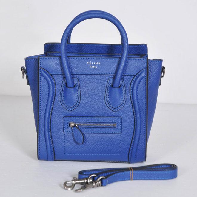 Celine Luggage Nano Blue Grain Leather Piping 21187 - Replica ...