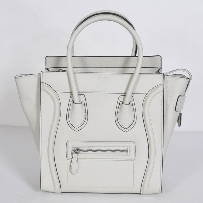 Celine Luggage Micro Off White Grain Leather Piping 21188