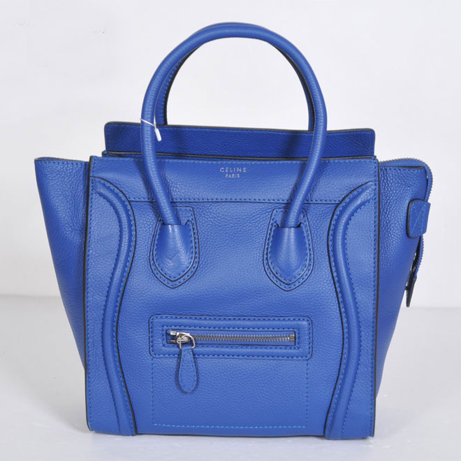 Celine Luggage Micro Blue Grain Leather Piping 21188