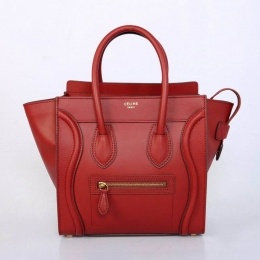 Celine Luggage Micro in Red Calfskin with Black Piping 2299D