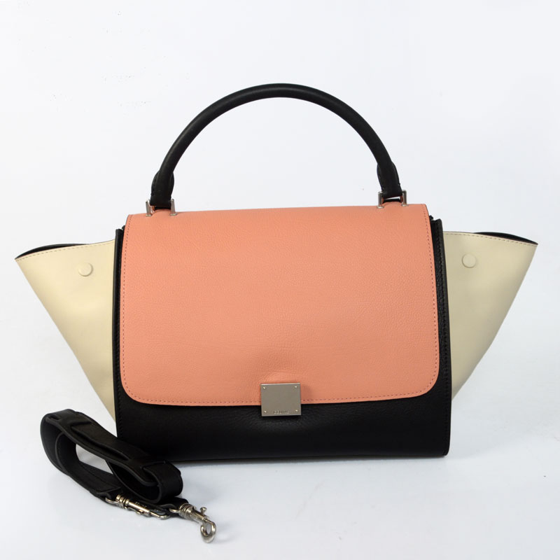 Celine Trapeze Multicolor in Calfskin Pink Textured 117