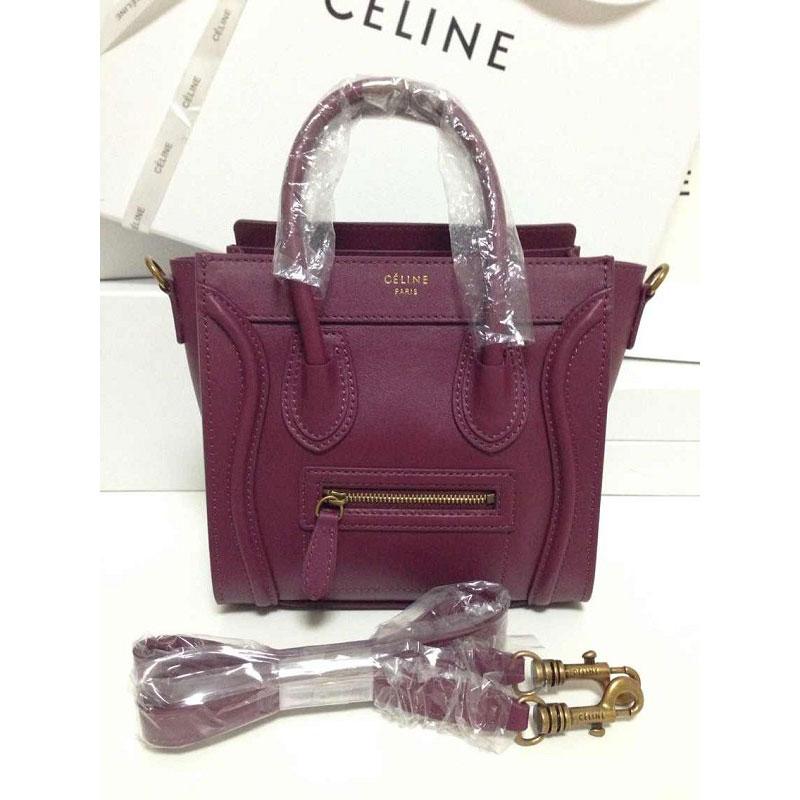 celine original bags - Celine Bag Luggage Nano in Calfskin Burgundy 800 - Replica Celine