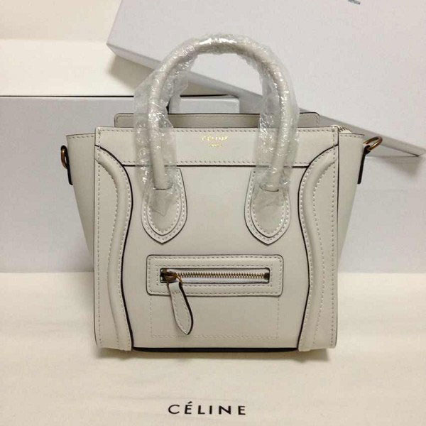 c6239ca285 Celine Nano Luggage Bag with Multicolour Double Stitching in Cream Calfskin  -