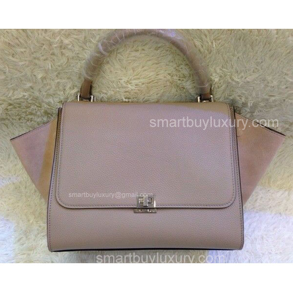 Celine Trapeze Bag in Grain Calfskin and Suede Grey
