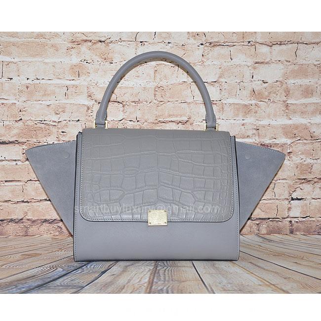 Quality Fake Celine Trapeze Bag in Grey Croc - Replica Celine