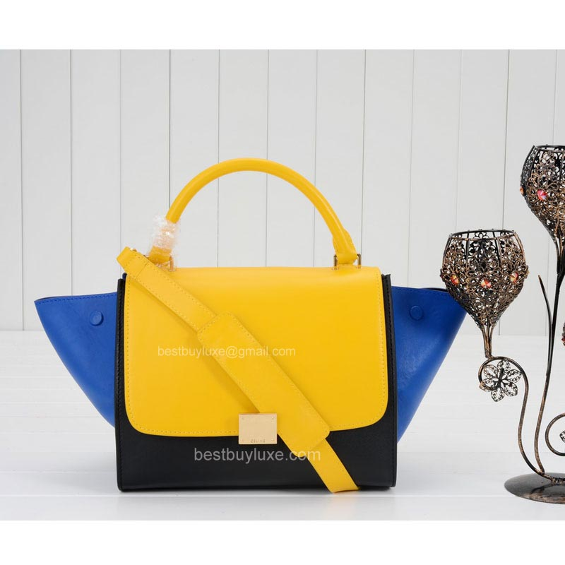 Celine Mini Trapeze Bag Multi in Yellow Calfskin