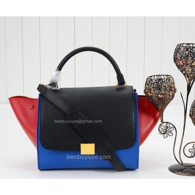 Celine Trapeze Mini Bag Multi in Blue Calfskin