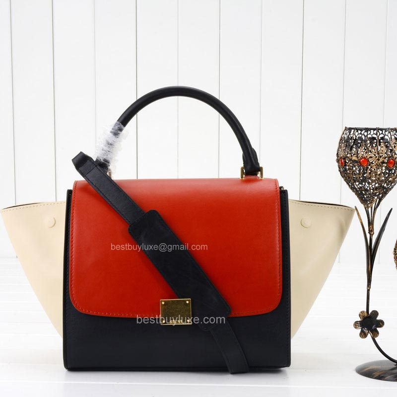 Celine Trapeze Mini Bag Multi in Red Calfskin