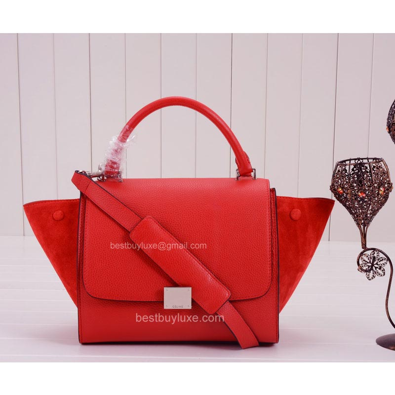 Celine Mini Trapeze Bag Suede in Bright Red