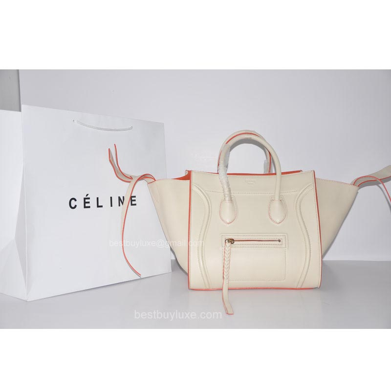 0d54af63a1 Celine Phantom Luggage Bag in Calfskin Off-white with Orange Piping ...