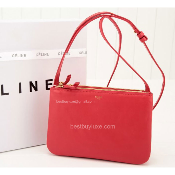 Best Quality Celine Trio Clutch in Red Calfskin