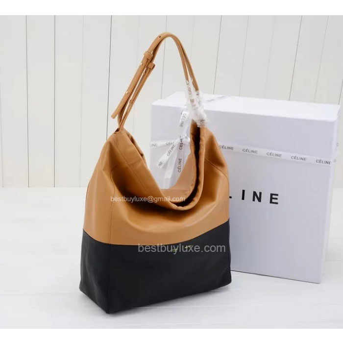 celine trio bag price - Replica Celine Shoulder Cabas Handbag in Bi-Color Apricot Calfskin ...