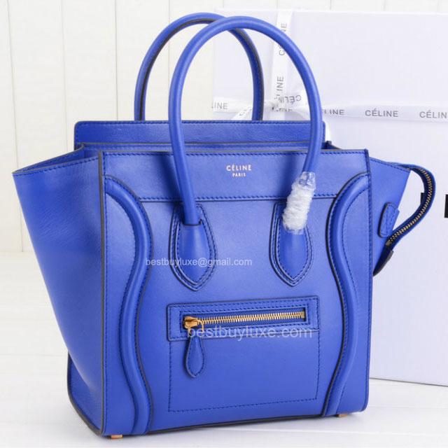 celine bags - Celine Micro Luggage Handbag in Ocean Calfskin - Replica Celine