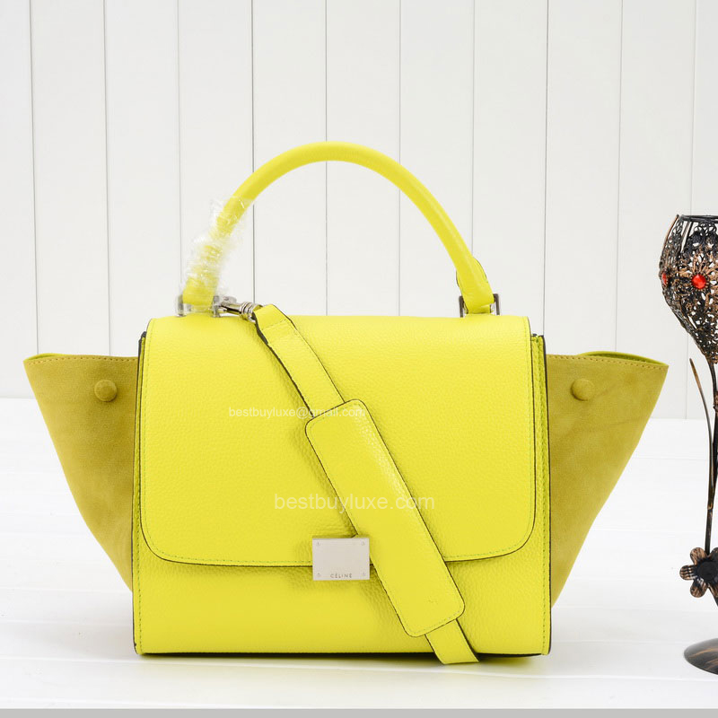 Celine Trapeze Mini Handbag Suede in Yellow Grain Calfskin