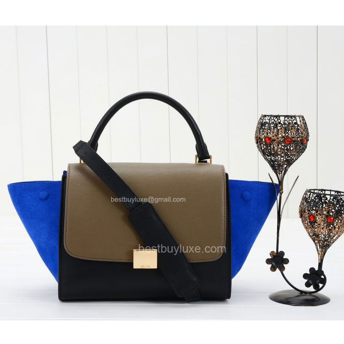 Celine Trapeze Mini Handbag Suede in Blue Calfskin