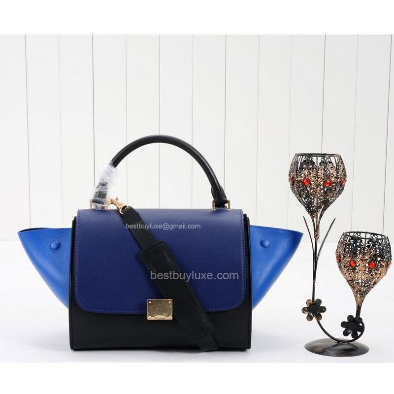 Celine Trapeze Mini Handbag in Electric Blue Multicolour Calfskin