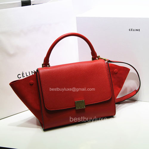 Super Quality Celine Trapeze Handbag Suede in Red Calfskin
