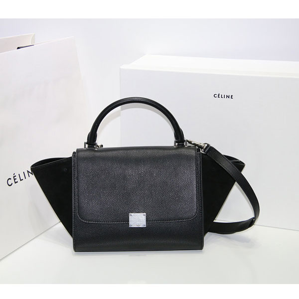 Celine Trapeze in Deep Blue Grain Calfskin and Black Suede