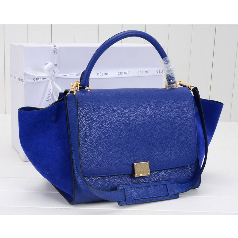 Celine Trapeze in Grain Calfskin and Suede Blue