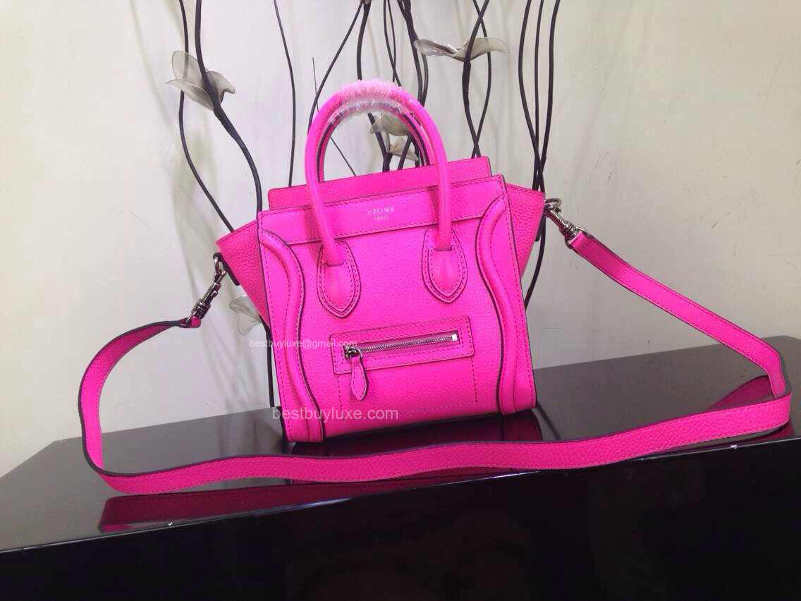 158721eeac44 Celine Nano Luggage Handbag in Hot Pink Crisped Calfskin - Replica ...