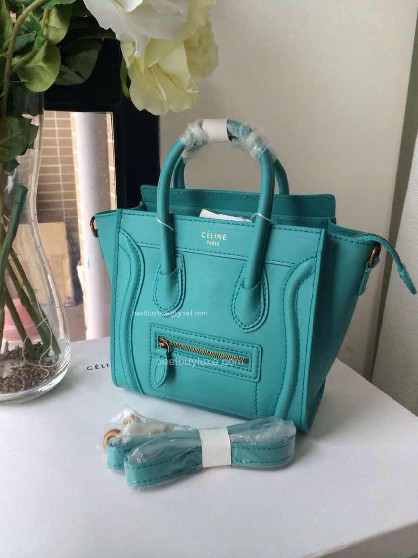 c eline replica - Celine Nano Luggage Handbag in Turquoise Calfskin - Replica Celine