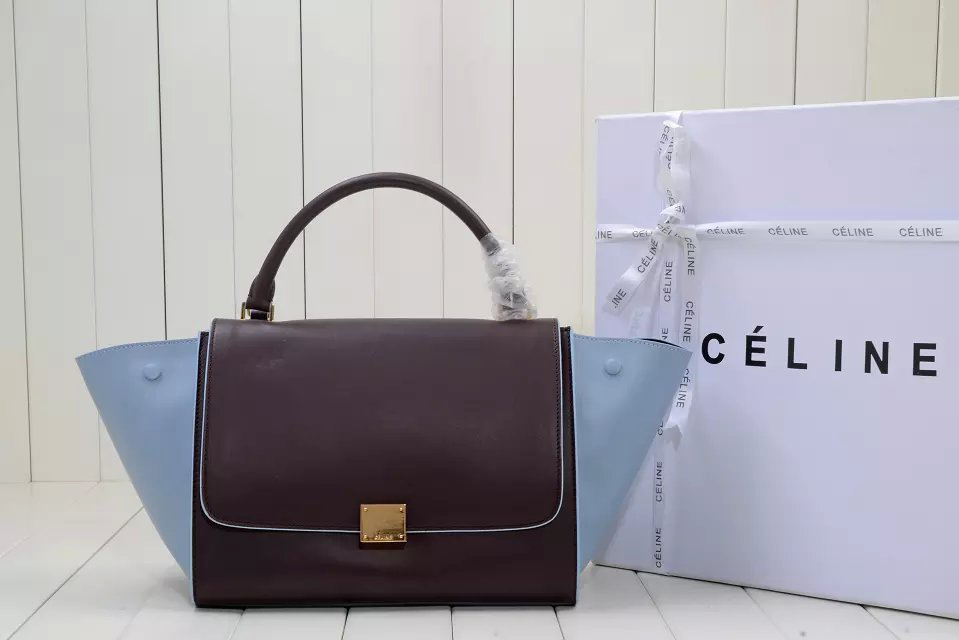 Medium Trapeze Celine Handbag Bicolour in Calfskin Bordeaux