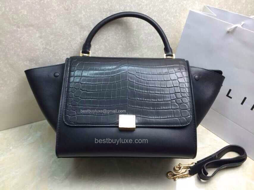 Medium Celine Trapeze Handbag in Black Croc Embossed Leather