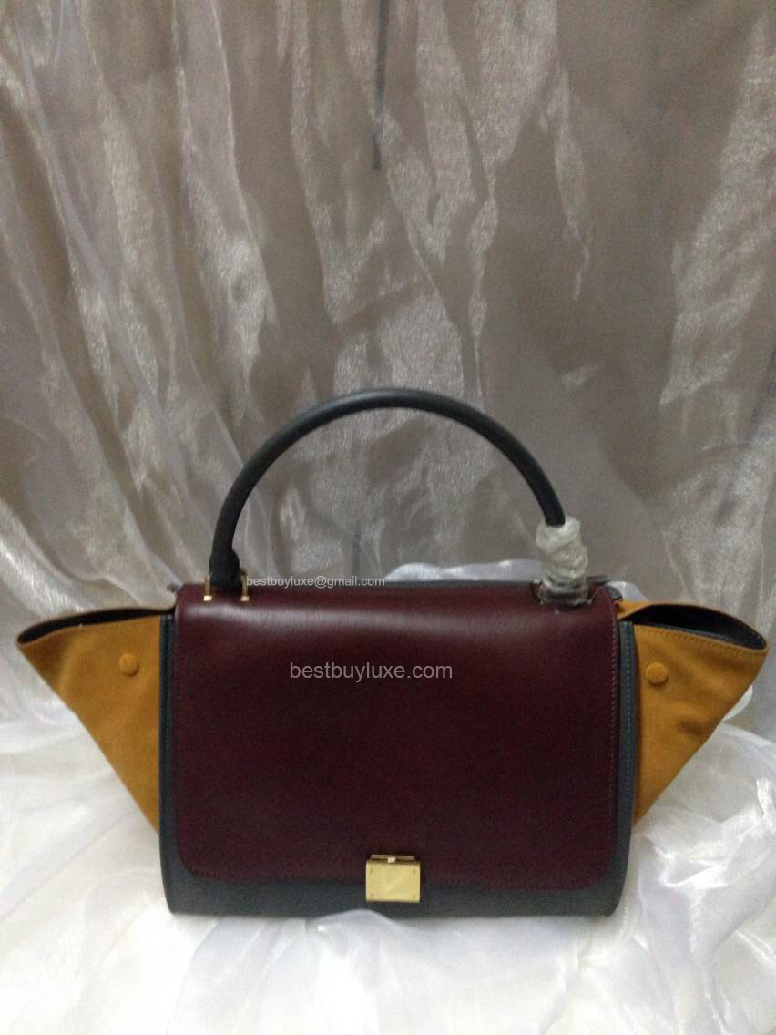 Celine Medium Trapeze Handbag in Bordeaux Multicolour Calfskin