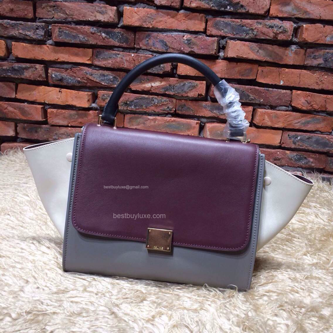 Celine Medium Trapeze Handbag in Grey Multicolour Calfskin
