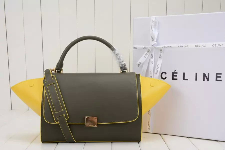 Celine Medium Trapeze Handbag in Khaki Multicolour Calfskin
