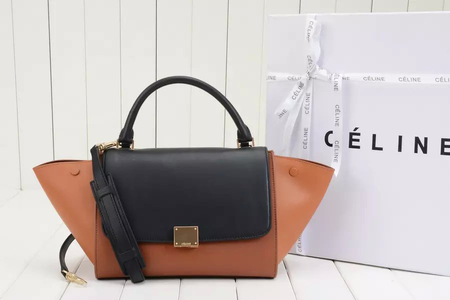 Celine Medium Trapeze Handbag in Camel Multicolour Calfskin
