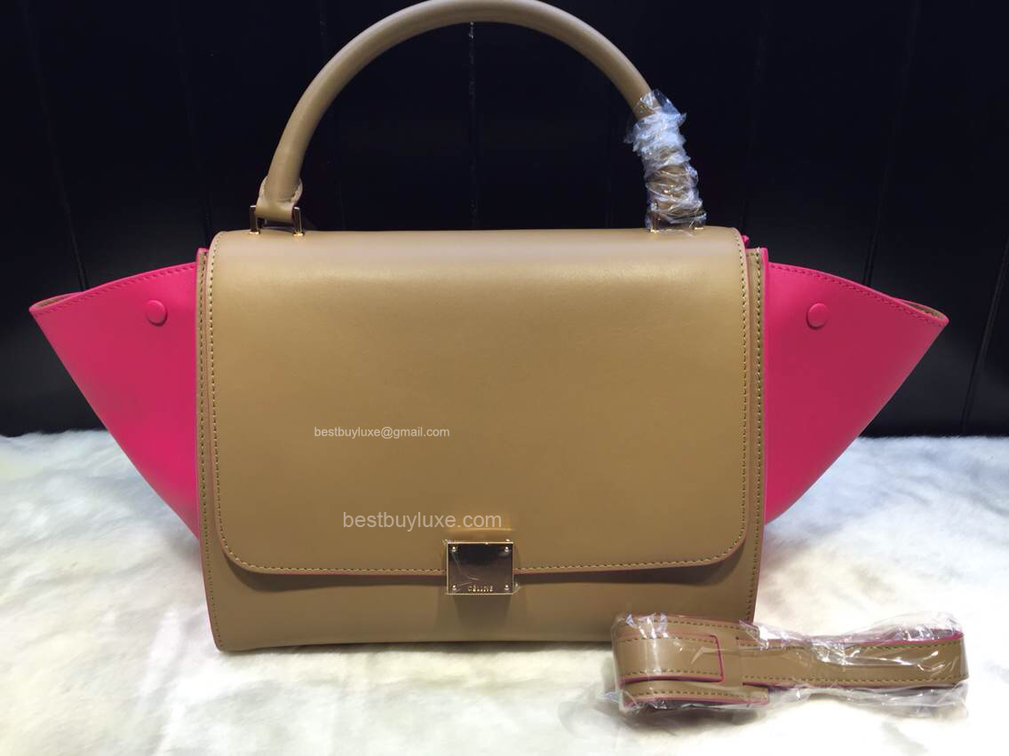 Celine Medium Trapeze Handbag in Pink Multicolour Calfskin