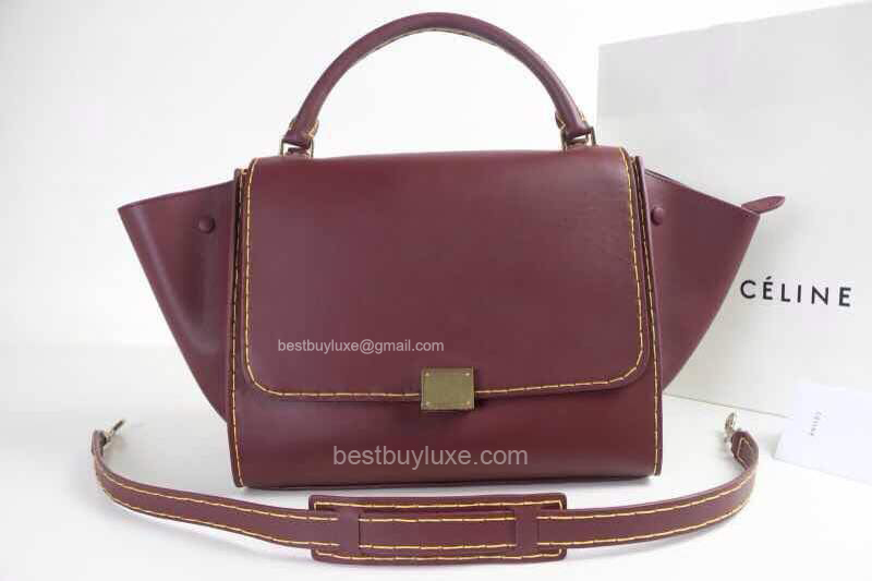 Medium Celine Trapeze Handbag in Bordeaux Calfskin and Yellow Stitches