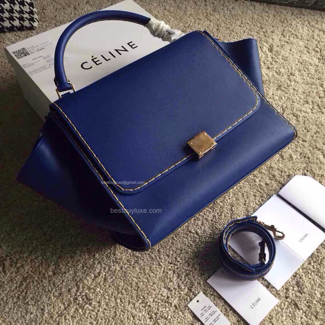 High Replica Medium Celine Trapeze Handbag in Blue Calfskin