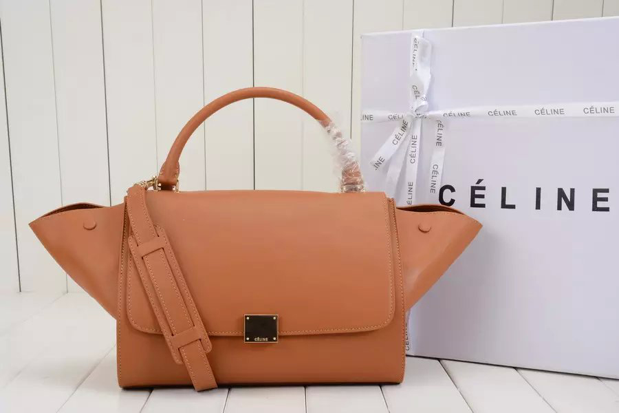 Medium Celine Trapeze Handbag in Tan Calfskin