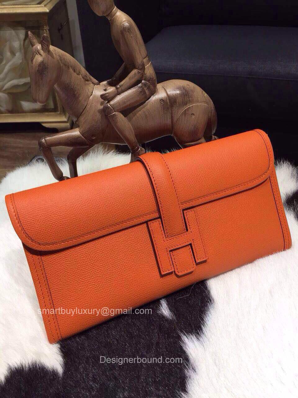 4e65ab206d57 Hermes Jige Elan Clutch in Orange Epsom Leather Best Replica ...