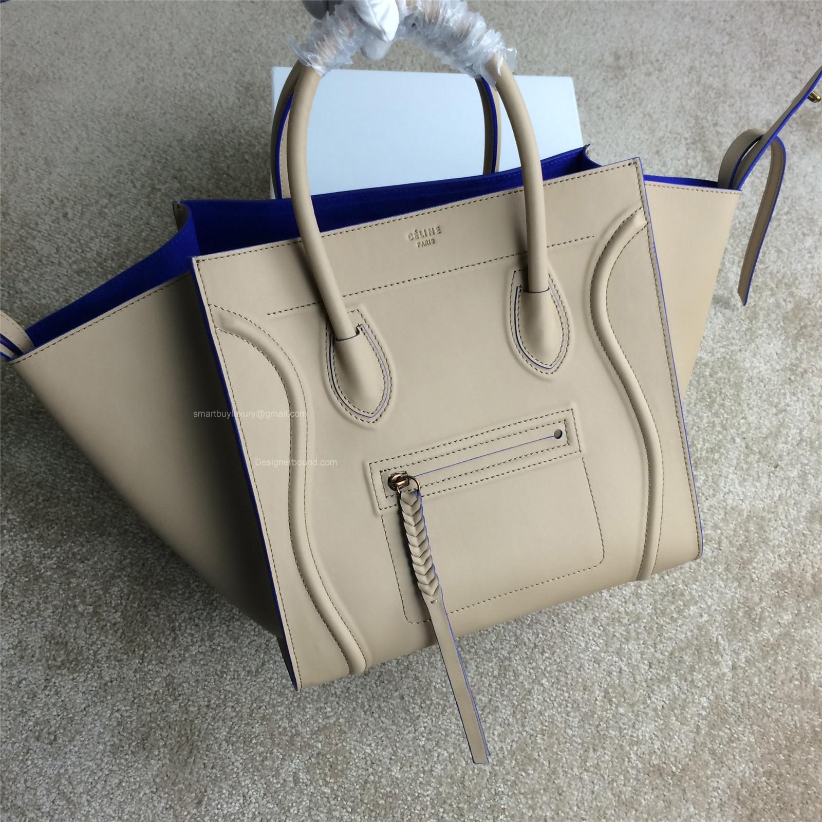 Celine Phantom Luggage Handbag in Calfskin Nude with Blue Trim -