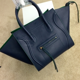 Celine Phantom Luggage Handbag in Calfskin Navy Blue with Green Trim