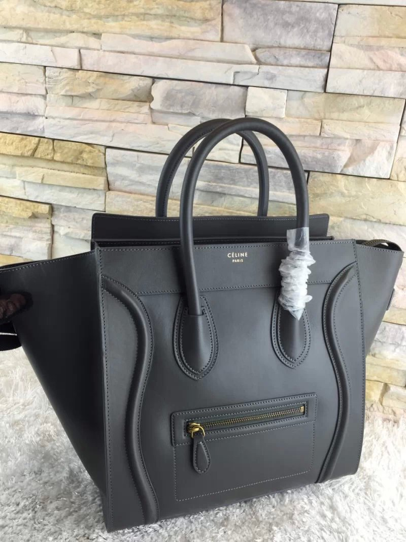 High-End Mini Luggage Replica Celine Bag In Grey Calfskin -