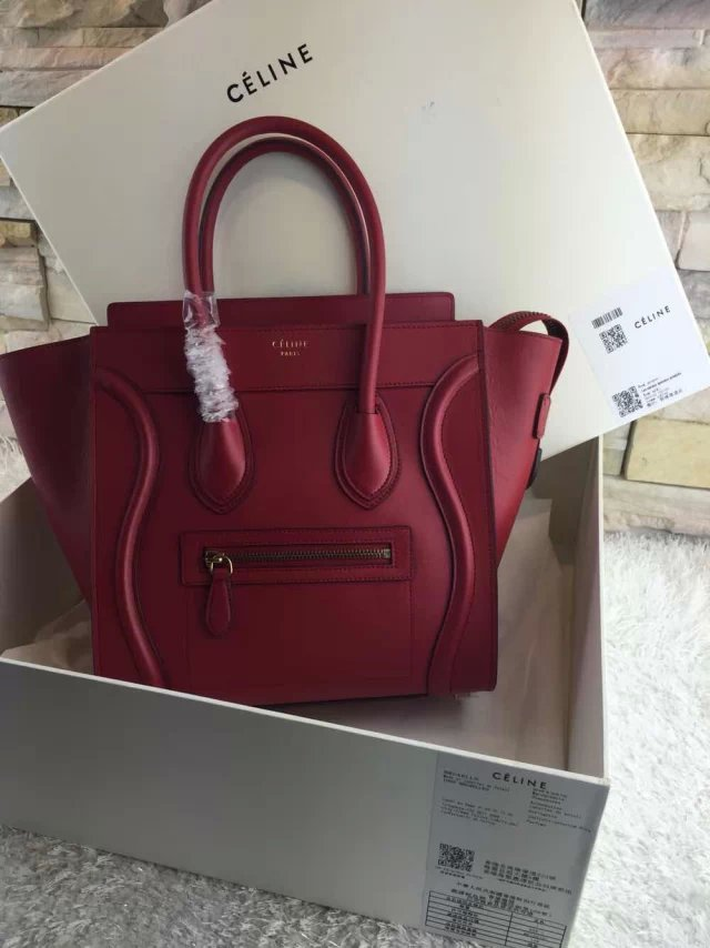 High-End Mini Luggage Celine Calfskin Handbag Replica Red