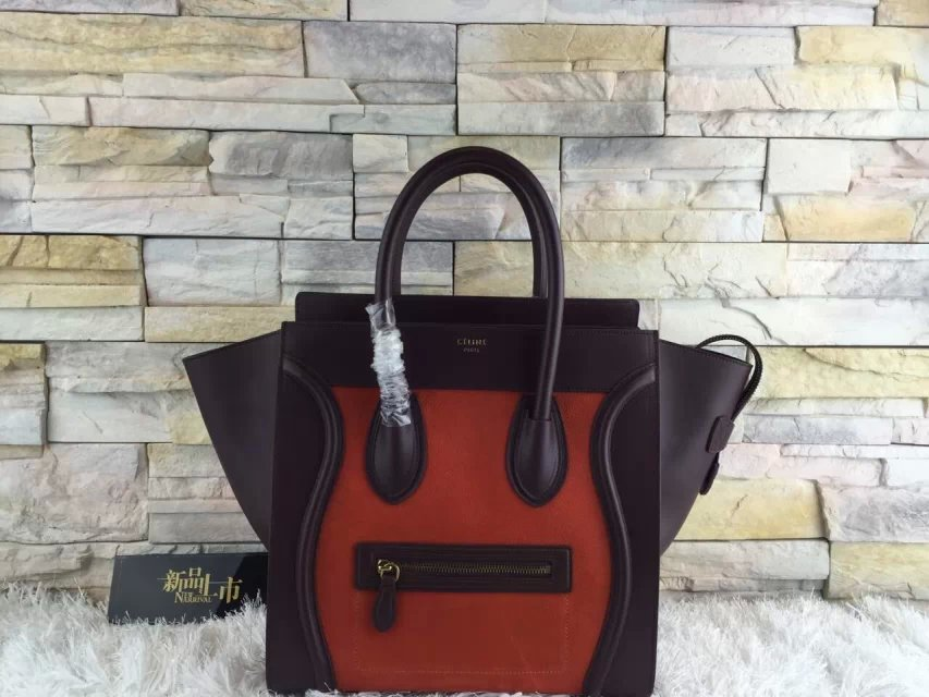 High-End Mini Luggage Celine Bag Replica in Orange Multi Calfskin