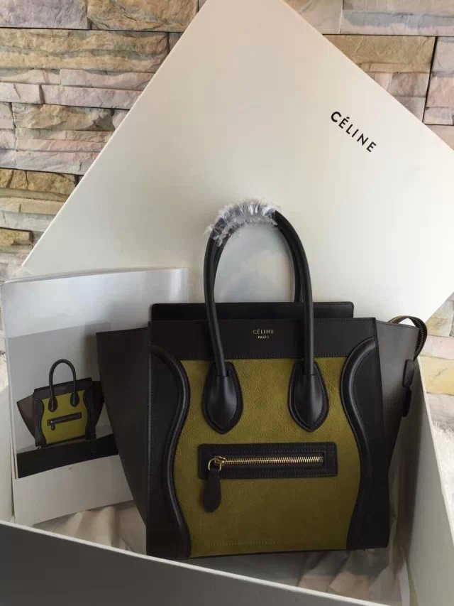 High-End Mini Luggage Celine Bag Replica in Green Multi Calfskin