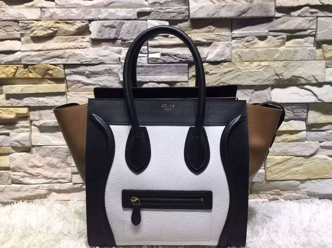 High-End Mini Luggage Celine Bag Replica White Texture Multi Calfskin