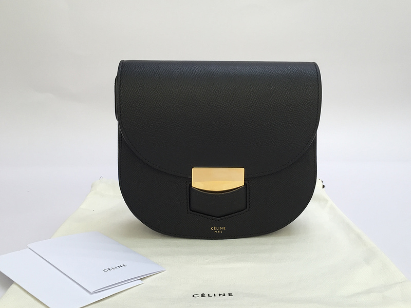 celine luggage tote online shop - Celine Small Trotteur Bag In Black Grained Calfskin -
