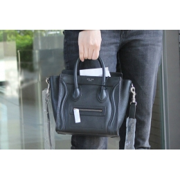 Ultimate Replica Celine Luggage Nano Bag in Black Grained Calfskin