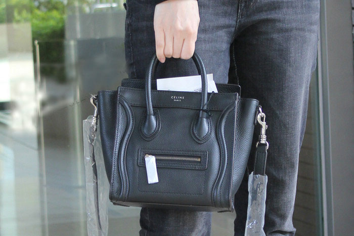8d85eb436ec4 Ultimate Replica Celine Luggage Nano Bag in Black Grained Calfskin ...