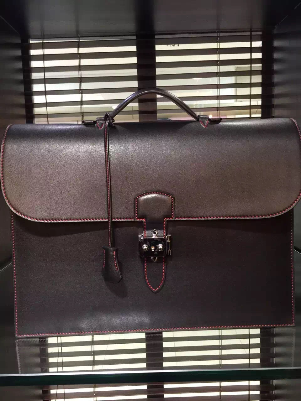 Hermes Sac a Depeche 41 Briefcase Dark Red Swift Leather Handstitched