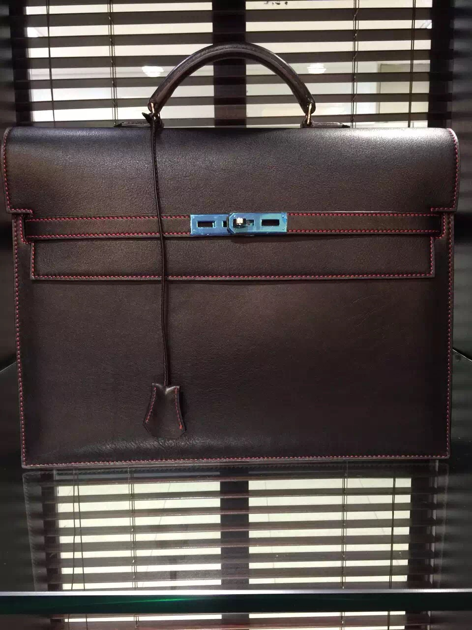 Hermes Kelly Depeche 38 Briefcase Dark Red Swift Leather Handstitched Silver hw