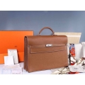 Hermes Kelly Depeche 38 Briefcase Brown Clemence Handstitched Silver hw